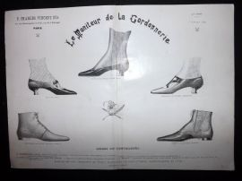 Le Moniteur de la Cordonnerie 1894 Rare Antique Shoe Design Print 20